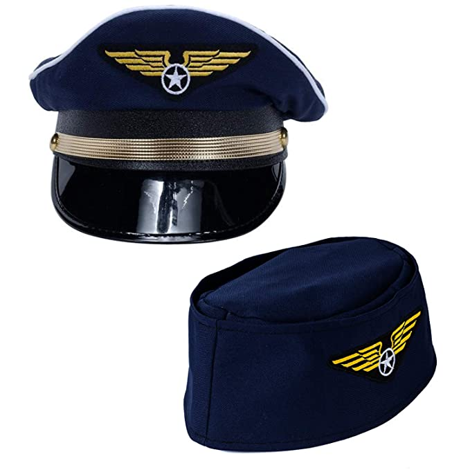 977f65eee Tigerdoe Pilot Hat - 2 Pack - Captain Pilot Hat - Pilot and Flight  Attendant Costume - Couples Costumes