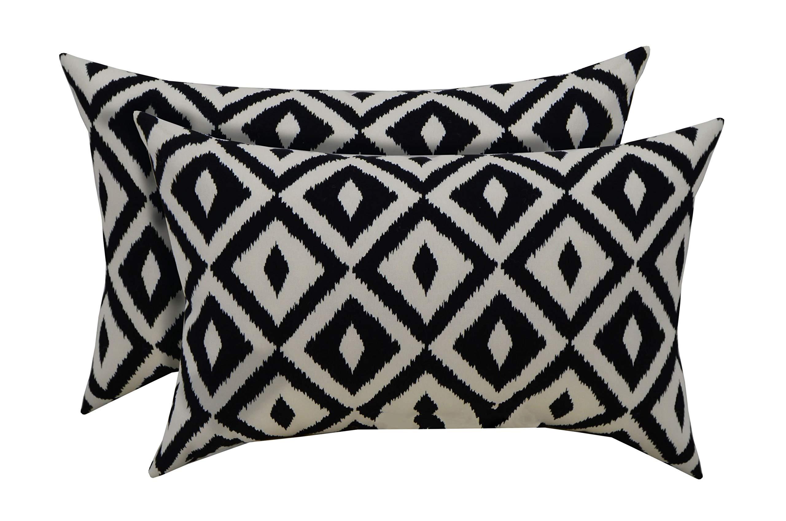 RSH Décor Indoor Outdoor Set of 2 Decorative Rectangular Lumbar Throw Pillows ~ Black and White Aztec Geometric Fabric (20'' W x 12'' H)