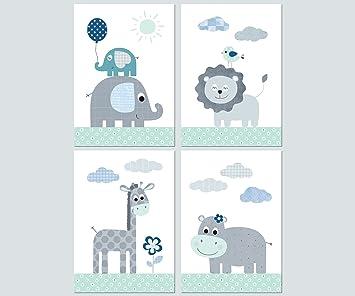 Kinderzimmer Babyzimmer Deko Mädchen Junge - Poster Set 4x DIN A4 ...