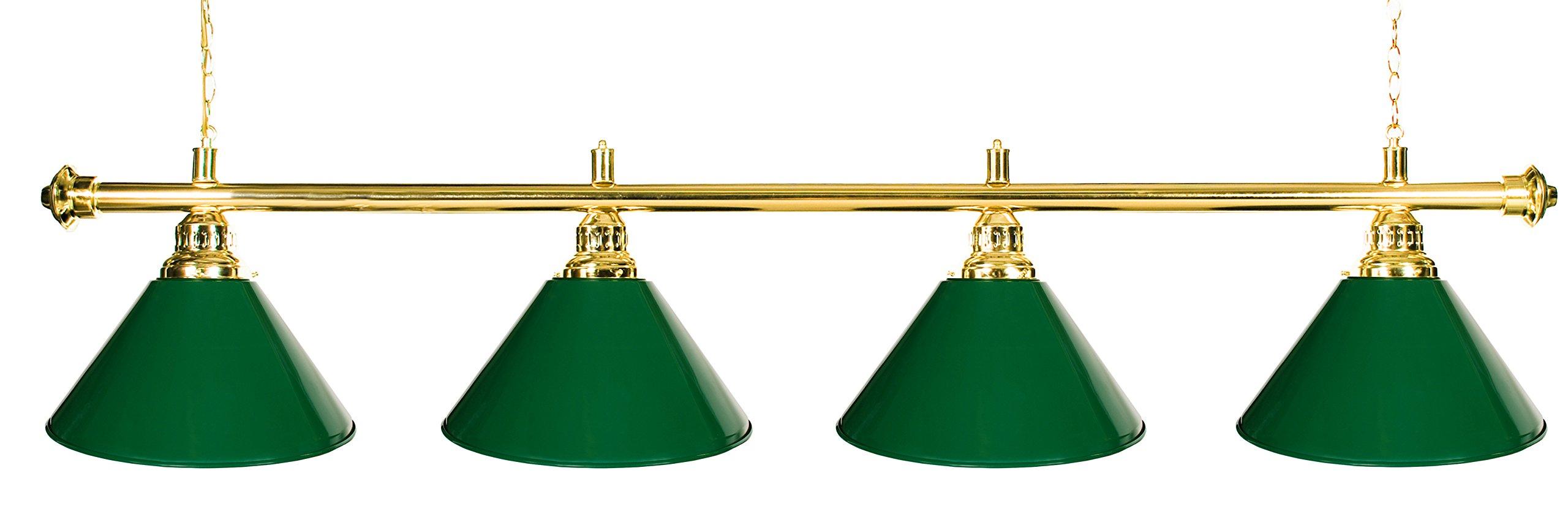 72'' Pool Table Light - Billiard Lamp Brass Rod Choose Burgundy, Green or Black Metal Shades (Brass Green)