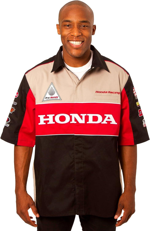 Black-red JH DESIGN GROUP Honda Racing Mens Snap-Up Short Sleeve Pit Shirt Medium
