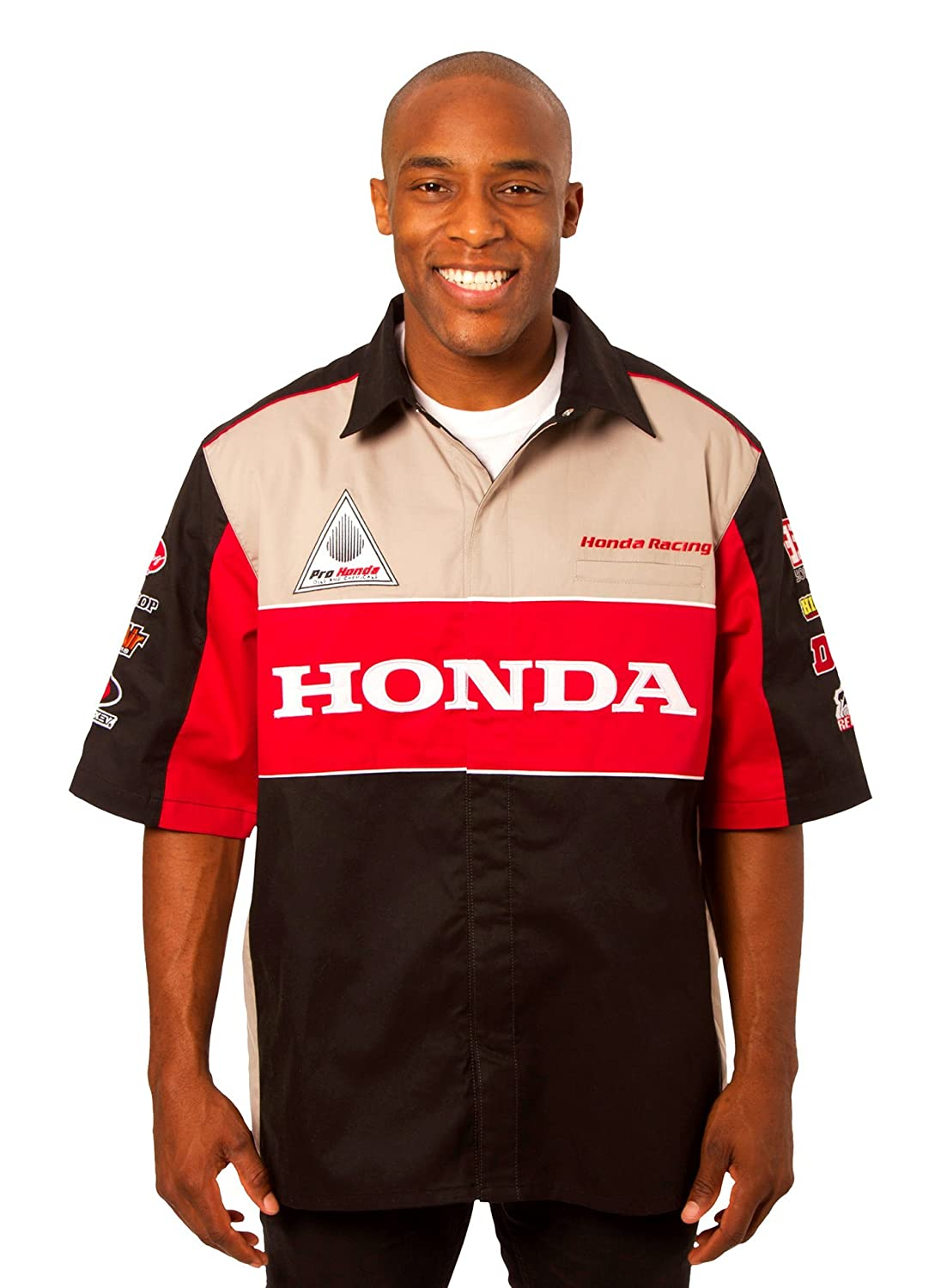 J.H Design Honda Racing Mens Snap Up Embroidered Short Sleeve Racing Pit Shirt
