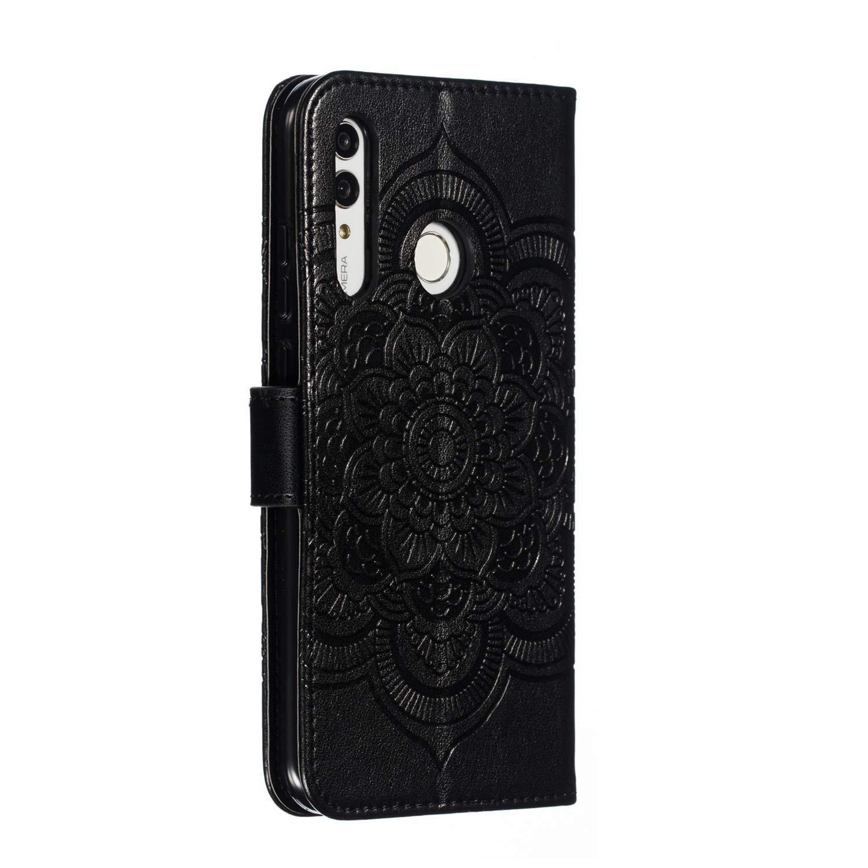 Felfy Kompatibel mit Galaxy A50 H/ülle,Kompatibel mit Galaxy A50 Handyh/ülle Glitzer Diamant Rot Mandala Muster Flip Case PU Leder Brieftasche Schutzh/ülle Tasche mit Stand Funktion und Kartenfach