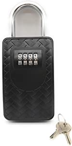 Heavy Duty Portable Key Lockbox with Key Override & 4 Digit Set Your Own Combination Lock Box