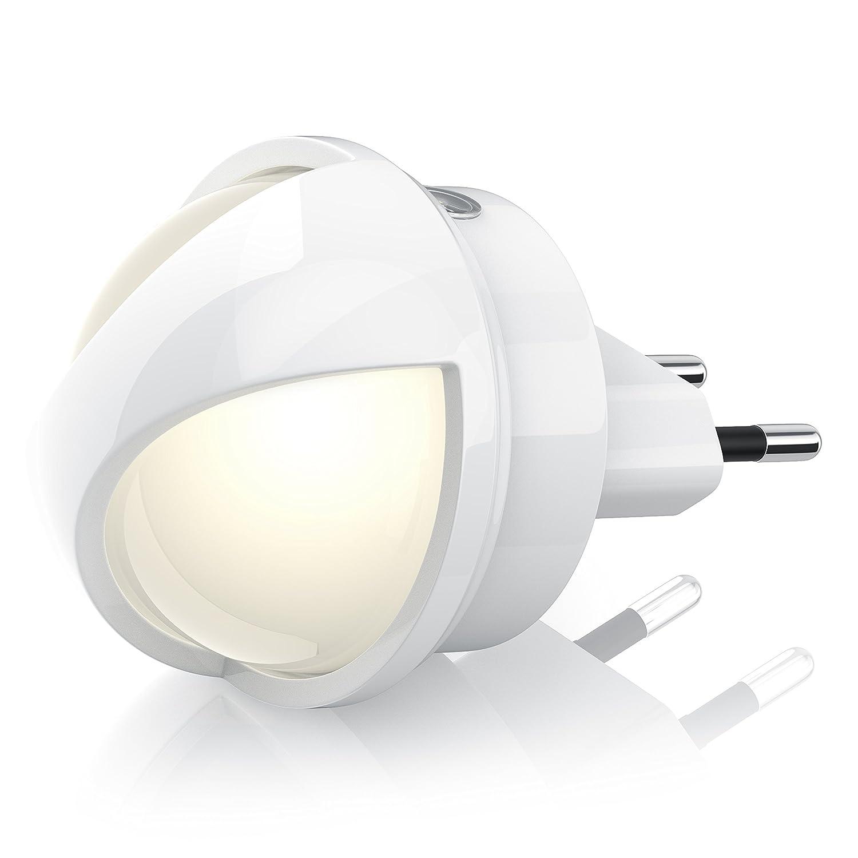Éclairage de nuit et d'orientation LED 360° de Bearware | y compris insert LED rotatif 360° | veilleuse/ éclairage d'orientation de nuit / lampe de sécurité / éclairage de secours | capteur de luminosi