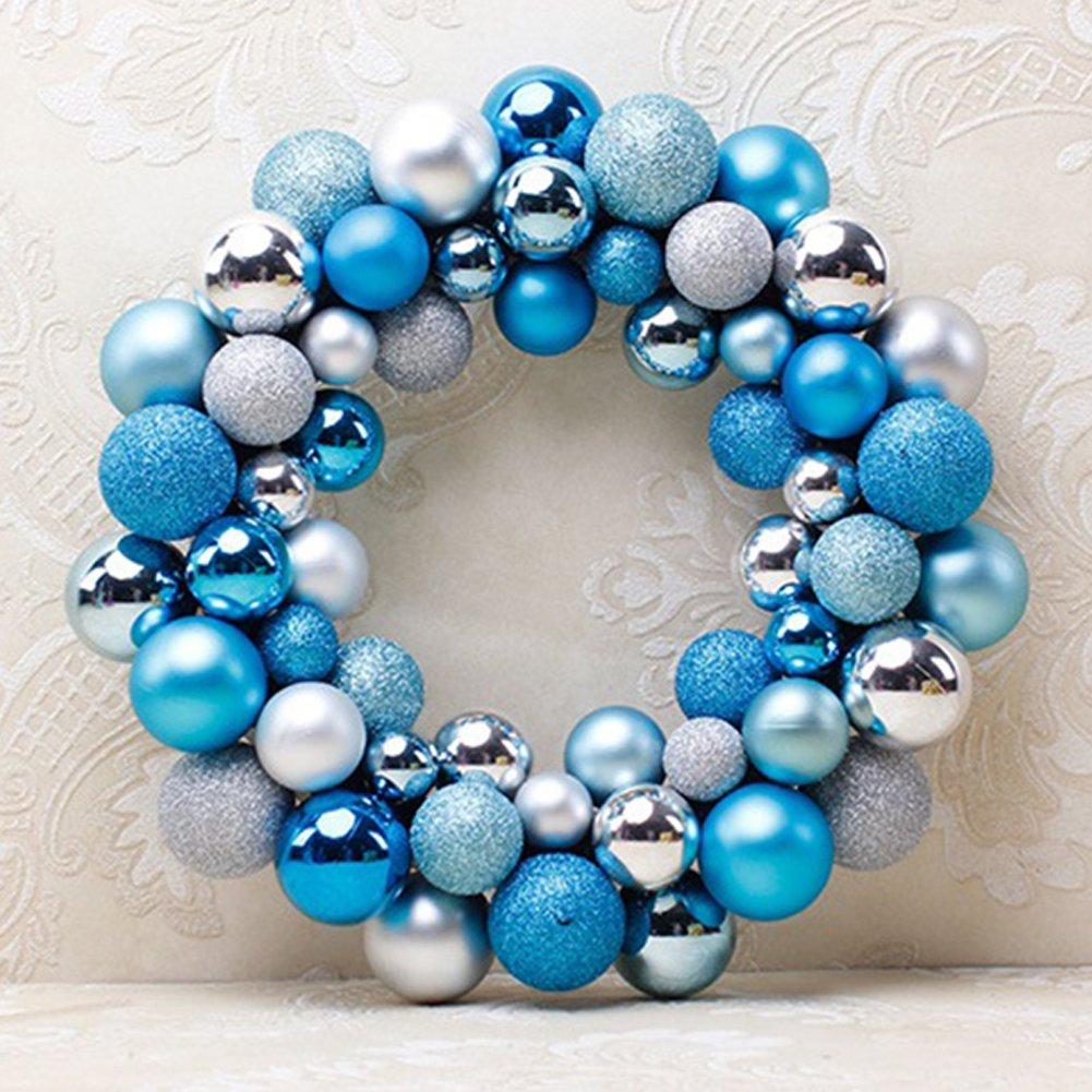 Christmas Colorful Balls Wreath Door Wall Ornament Creative Garland Home Wedding Decoration (Silver blue ball wreath)