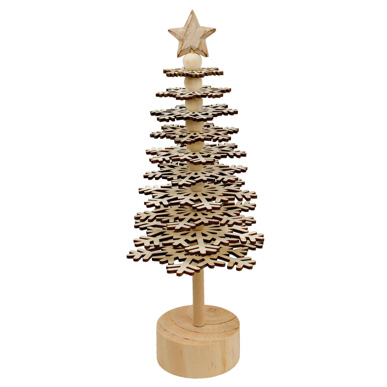 Amazon Com Natural Wood Tiered Snowflake Desktop Christmas Tree