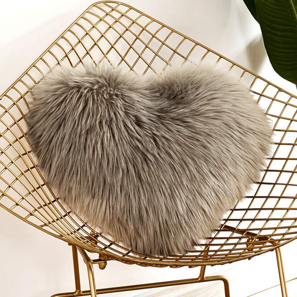 Lionina - Cojín de Pelo sintético Mullido, 40 x 50 cm, Liso, con Forma de corazón, Ideal para Decorar el sofá del Coche, c, Tamaño Libre