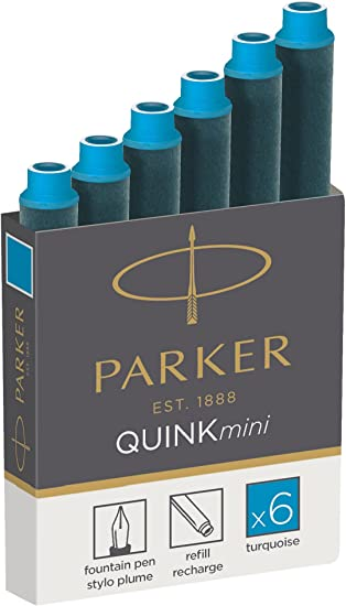 Black Ink Parker Quink Fountain Pen Refills Box of 5 Long Cartridges