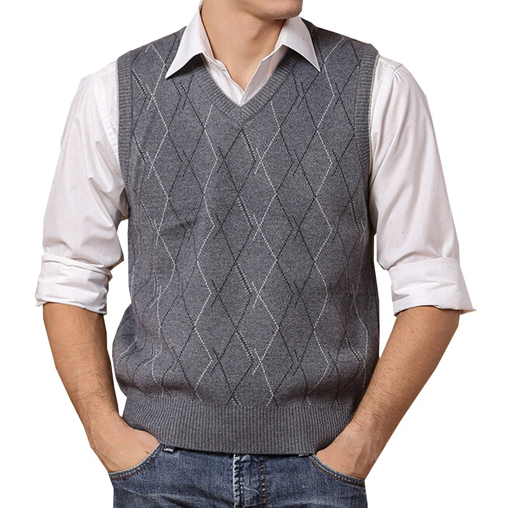 Lisianthuas Mens' Argyle V-Neck Sweater Vest Color Dark Grey Size L