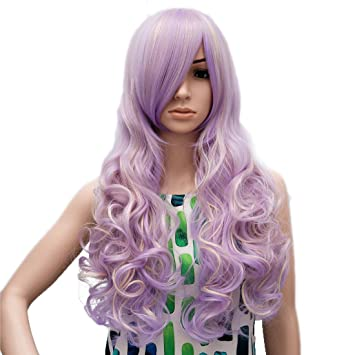 Amazon.com : Gracefulvara® 32 in Nature Violet Purple Long Curly Wig with Bangs Fluffy Cosplay Wigs : Beauty