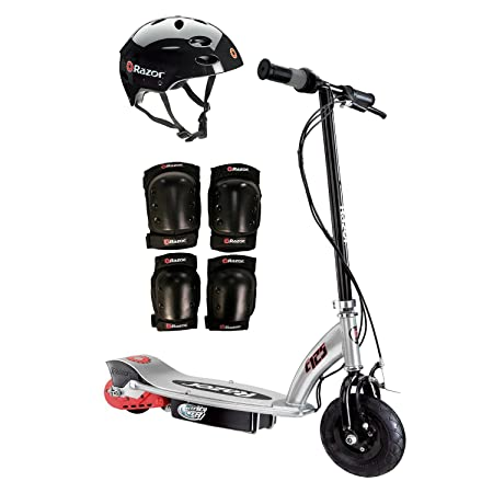 Razor E125 Motorized 24-Volt Scooter, Black + Youth Helmet + Elbow & Knee Pads