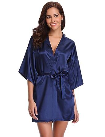 Beste neue Produkte für kostengünstig Aibrou Damen Morgenmantel Kimono Satin Kurz Robe Bademantel Nachtwäsche  Sleepwear V Ausschnitt mit Gürtel