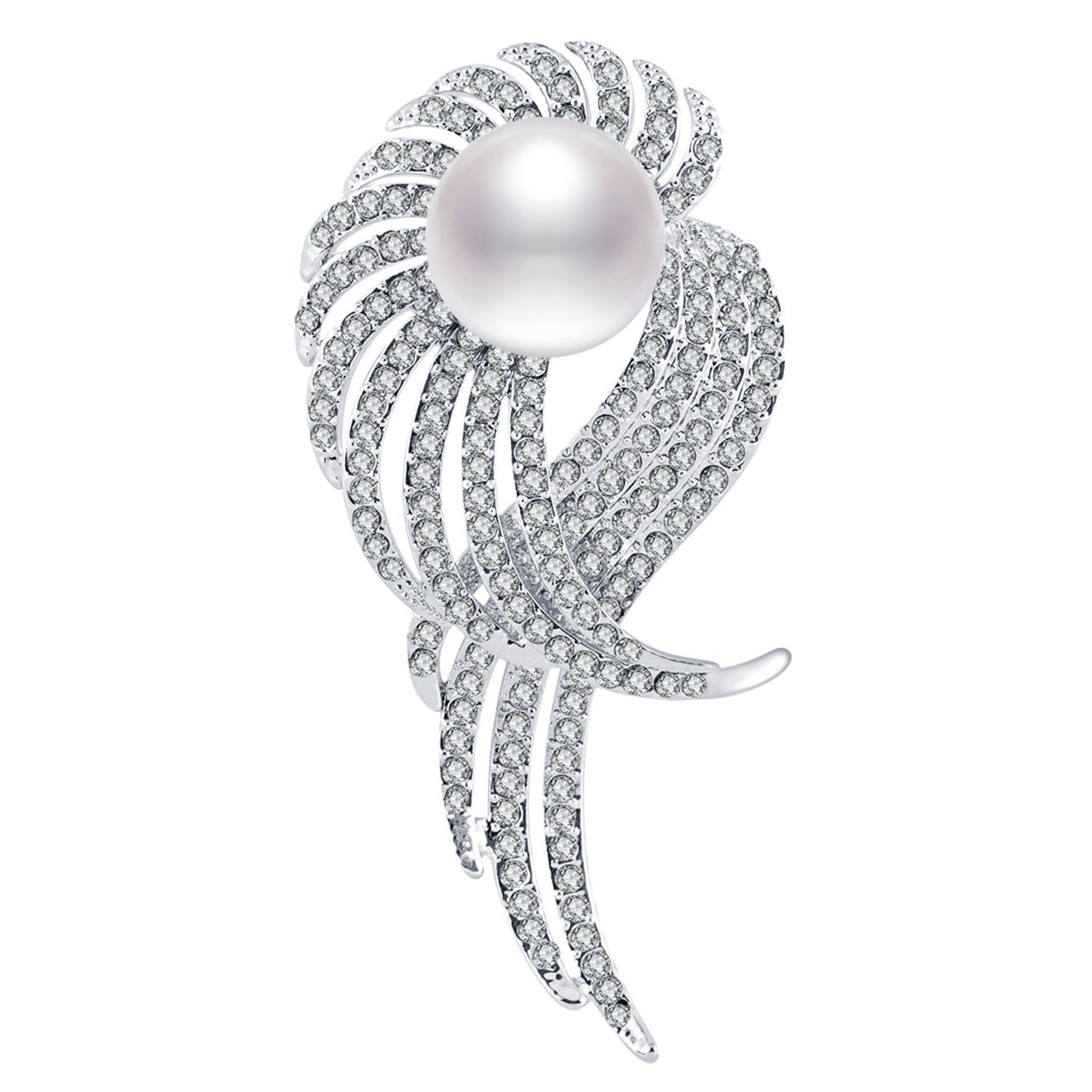 RAINBOW BOX Pearl Brooches for Women, Elegant Crystals from Swarovski Jewelry Brooch Pins for Women Girlfriend Her Valentine's Day Christmas'Day Birthday Gift