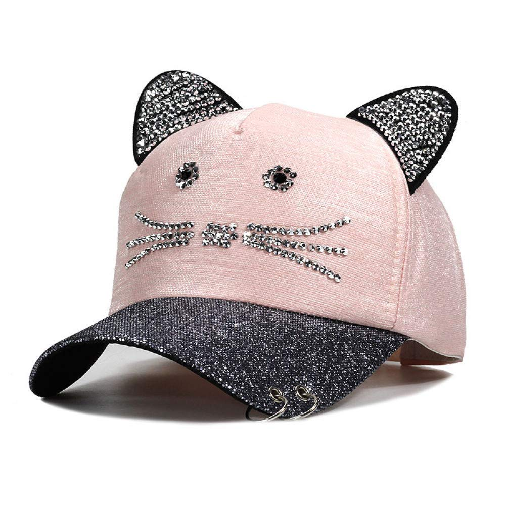 Pink Outdoor Sports hat Baseball Cap Meow Women's Summer Fall Cat Ears Women Hat Caps Sequins Ear Hats Kids Snapback Baseball Cap with Ears with Rings GrljdHat
