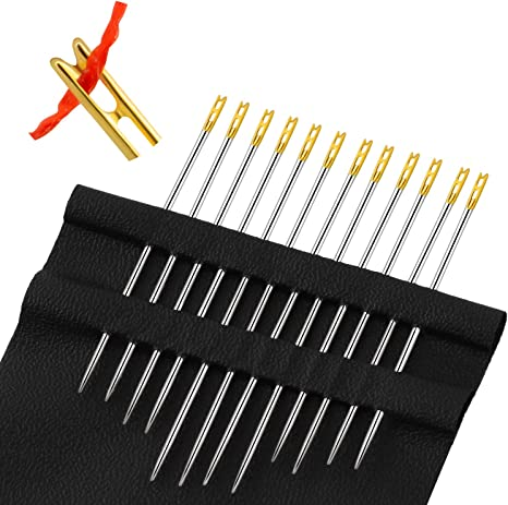 Self-Threading Needles ;Start Sewing in One Second ;Self-Threading Needles Hand Sewing Needle;Cross stitch Needles;Easy Threading Needles for DIY Handmade Needle Works Accessor Set of 48 // Pack of 4