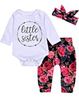 49e4c814a42 Royalkikk 3Pcs Newborn Baby Girls Romper Bodysuit Little Sister Tops Floral  Pants Bowknot Headband Cotton Clothes