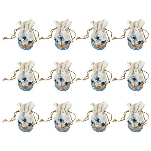 12 Bolsa Regalo Bautizo niño,Color Azul,Arpillera-Flores ...
