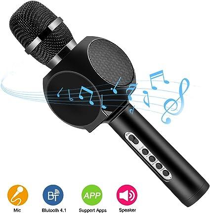 Micrófono inalámbrico Karaoke, HURRISE Tech 4-en-1 Reproductor Portátil de Micrófono con Bluetooth y Soporte para Teléfono Echo Reducción de Ruido para iOS, Sistema Android y Tabletas (negro): Amazon.es: Instrumentos musicales