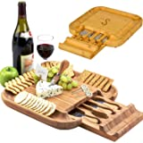 Picnic at Ascot Personalized Monogrammed Engraved Bamboo Cutting Board for Cheese & Charcuterie with Knife Set & Cheese…