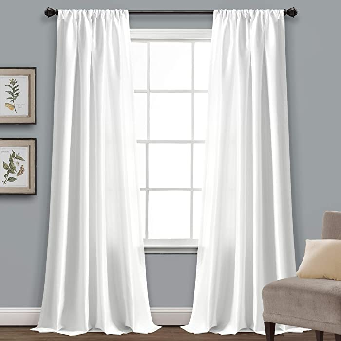 """Lush Decor, White Venetian Solid Color Window Panel for Living, Dining, Bedroom (Single Curtain), 84"""" x 54"""