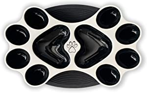 PickIt Pets Paws Bowl – Premium Ceramic Slow Feeder Dog Bowls for Small to Medium Sized Dogs and Puppies, Microwave and Dishwasher Safe, Silicon Placemat Included