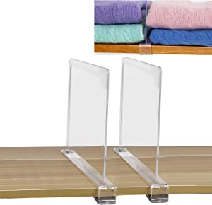 SWAWIS 2Pcs Acrylic Shelf Divider Separators 0.75