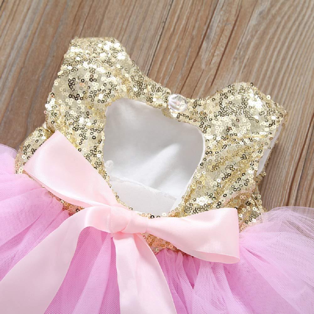YDuoDuo 1-5T Baby Toddler Girl Summer Dresses Sleeveless Backless Sequins Tulle Tutu Wedding Birthday Princess Dress