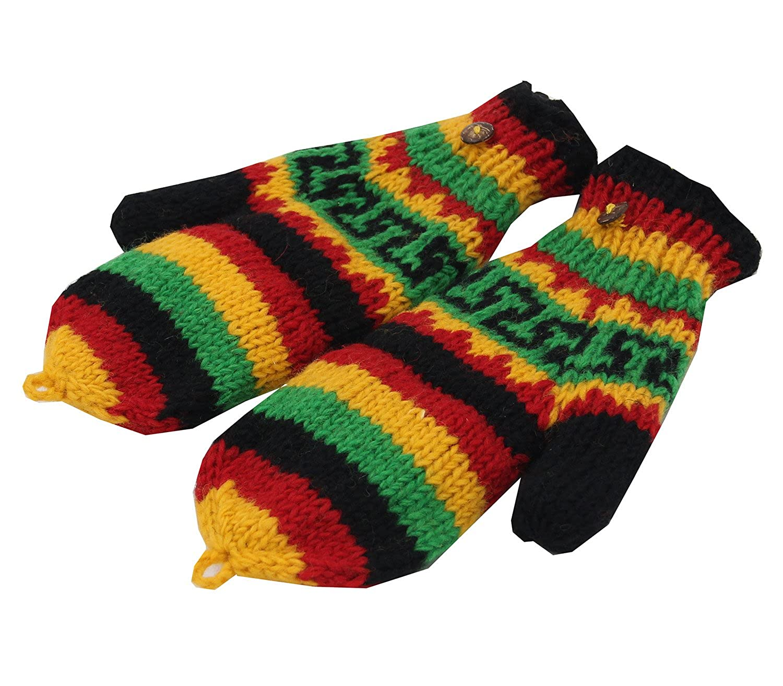 KayJayStyles Hand Knit 100% Wool Convertible Finger less Mittens Glove Nepal