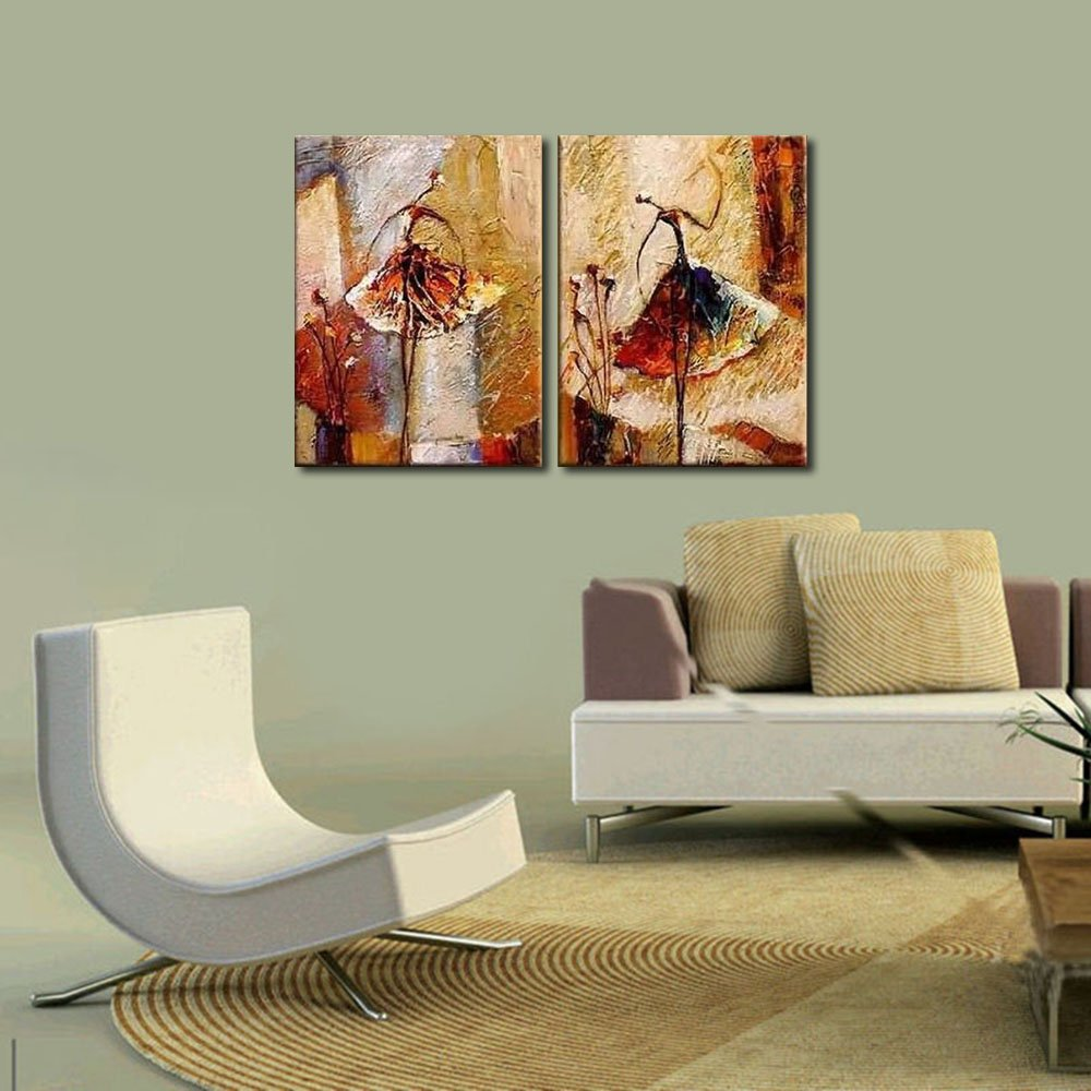 Amazon.com: Wieco Art   Ballet Dancers 2 Piece Modern Decorative Artwork  100% Hand Painted Contemporary Abstract Oil Paintings On Canvas Wall Art  Ready To ... Part 72