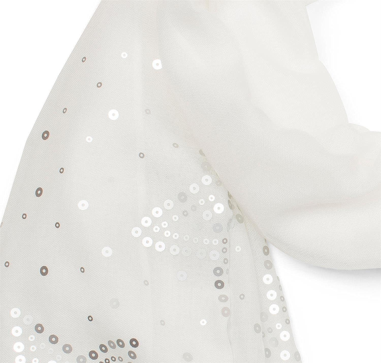 styleBREAKER Écharpe unie légère avec paillettes en forme d étoile des deux  côtés, foulard, femmes 01016152, couleur Blanc  Amazon.fr  Vêtements et ... b7435aa0cc8