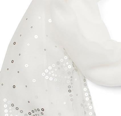 151267b8779e styleBREAKER Écharpe unie légère avec paillettes en forme d étoile des deux  côtés, foulard, femmes 01016152, couleur Blanc  Amazon.fr  Vêtements et ...