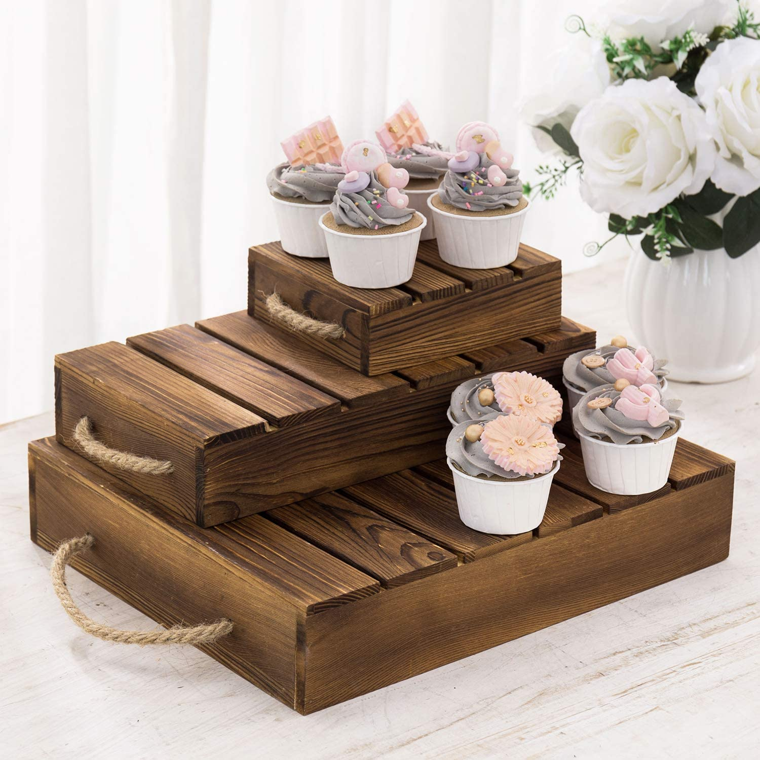 MyGift 3-Tier Rustic Burnt Wood Pallet Style Cupcake/Dessert Riser Stands and Retail Merchandise Displays with Rope Handles