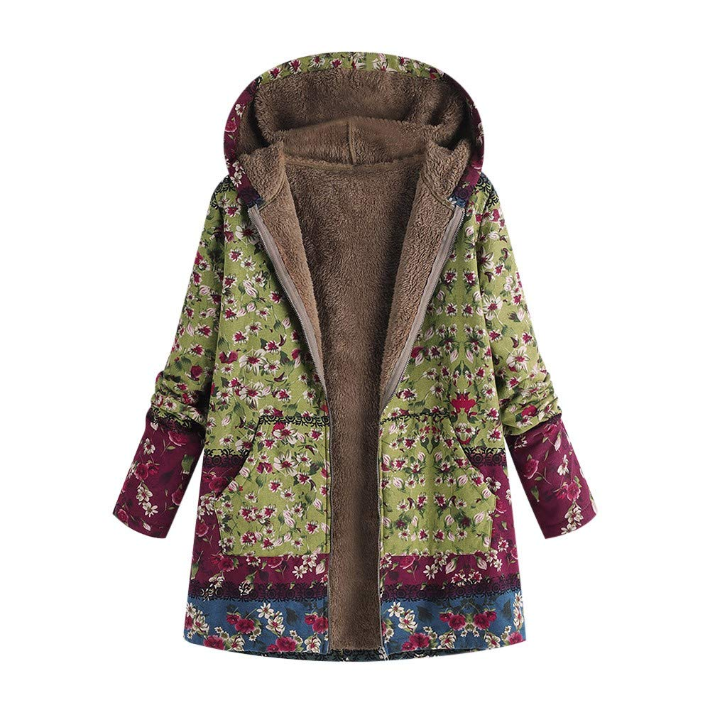 PUHFDM Manteaux Femmes Chaud,Manteau Femme, Bleu Blouson Moto,Aux Femmes l'hiver Chaud Outwear Floral Impression Encapuchonné Les Poches Ancien Surdimensionné Manteaux vert
