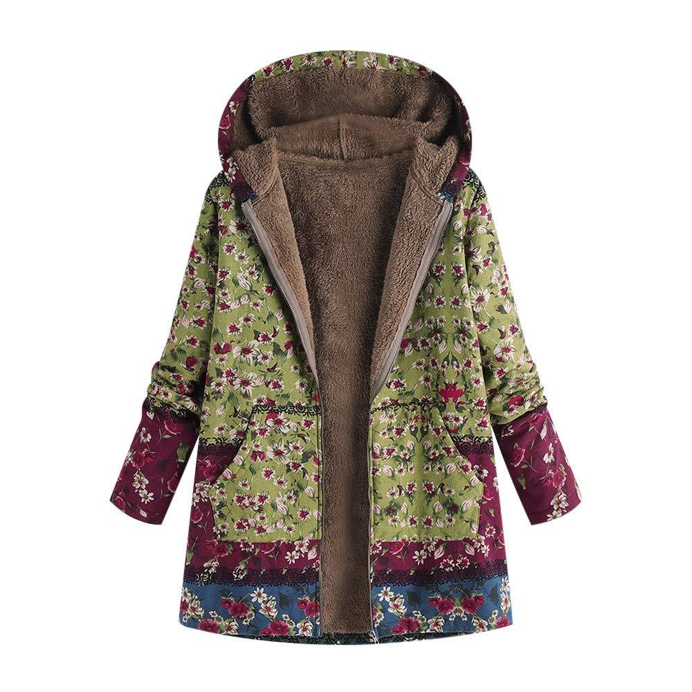 VJGOAL Para Mujer de Invierno más el tamaño de la Moda Casual Warm Thicken Outwear Estampado Floral Bolsillos con Capucha Vintage Abrigos de Gran tamaño
