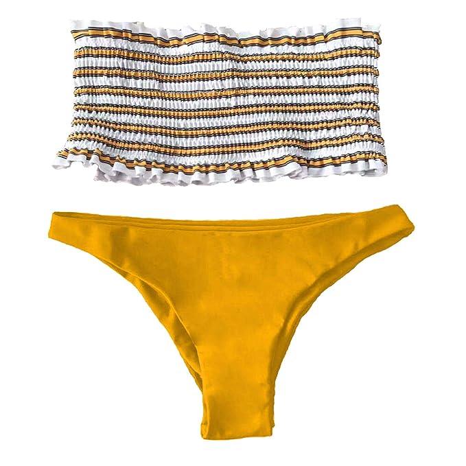 d4c75bd4e2ef JFan Mujer Bikini Bandeau de Rayas Bralette Traje de Baño de Tubo  Brasileños Bañador Ropa de Bano