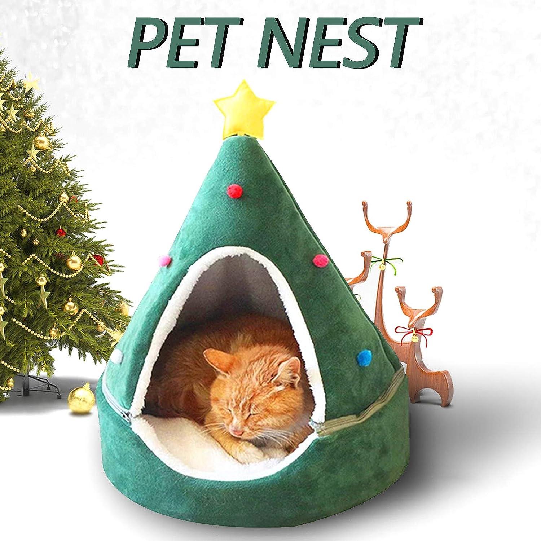 Christmas Xmas Tree Shape Cat Bed Small Dog Kennels
