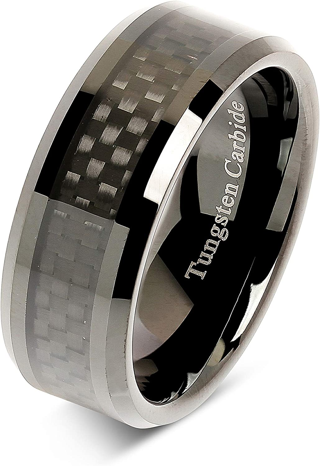 100S JEWELRY 8mm Tungsten Carbide Ring Carbon Fiber Inlay Black Plated Wedding Band Size 6-16