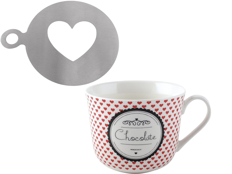 Cocoa Shaker Drink Gift Set Heart Stencil Tea Coffee Hot Chocolate Heart Mug