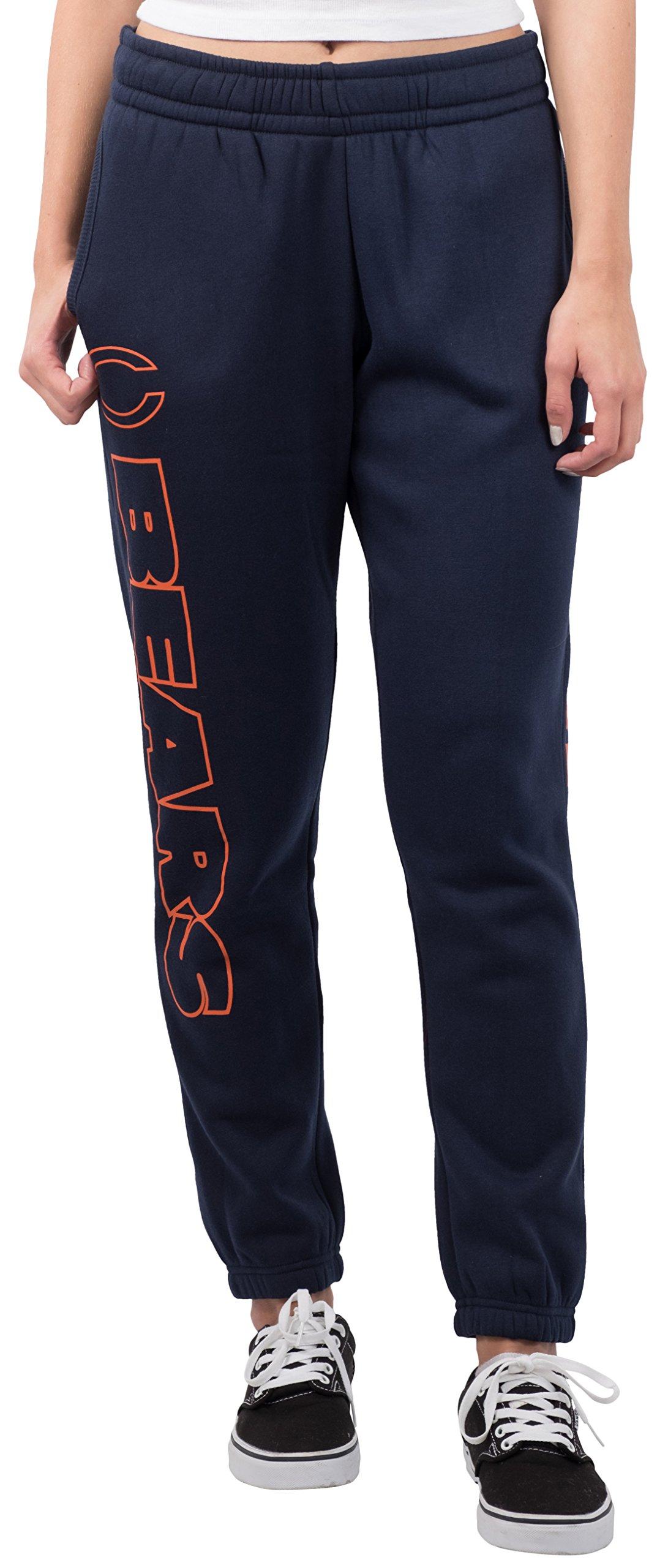 Ultra Game NFL Chicago Bears Women's Relax Fit Fleece Jogger Sweatpants, Medium, Navy