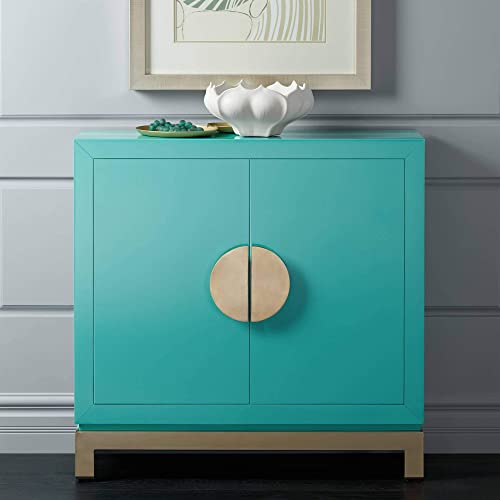 Walden 36 Wide 2-Door Glossy Blue Teal Accent Cabinet
