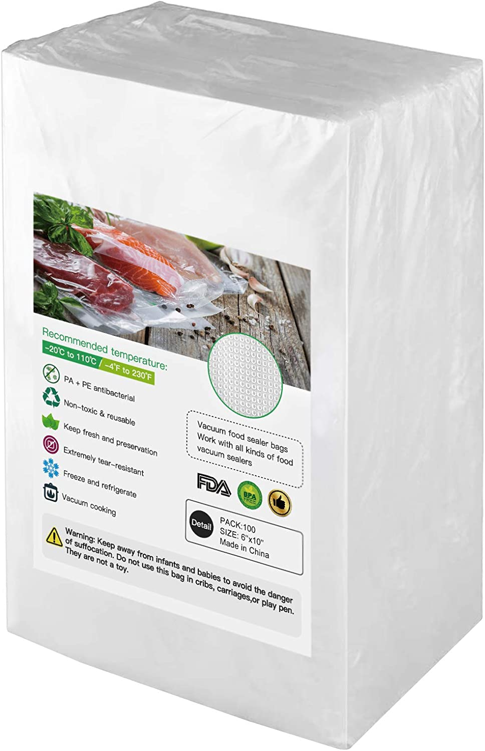 BoxLegend 100 Pint 6''x10'' Vacuum Sealer Bags, Food Saver Bags. Commercial Grade, BPA Free, Heavy Duty, Great for vac Storage, Meal Prep or Sous Vide