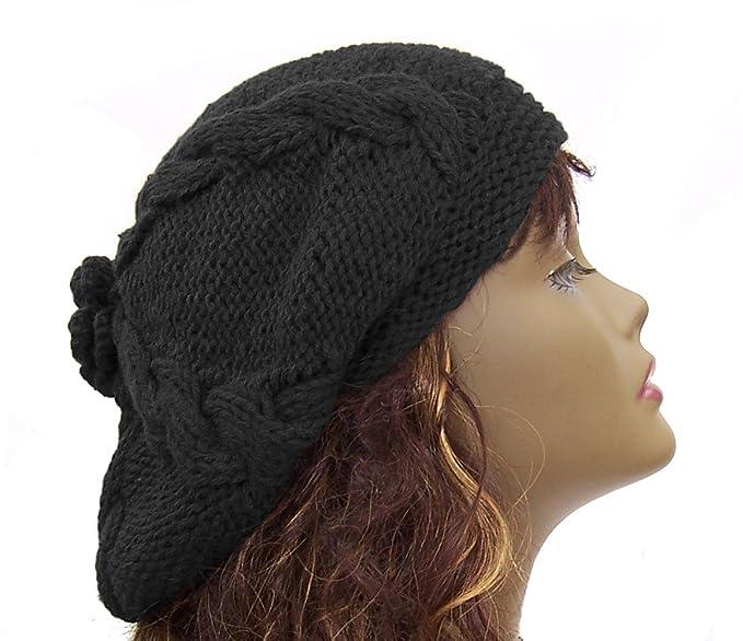 zefen Womens Hat Beret Knitted Beret Crochet Flower Slouchy Beanie Cap Black 8df94ee62