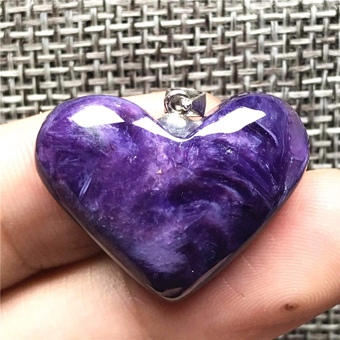 Heart Charoite Pendant for Woman Man Beads Stone 925 Silver Sterling Gemstone Jewelry AAAAA DUOVEKT 26x7mm Natural Purple Charoite Crystal
