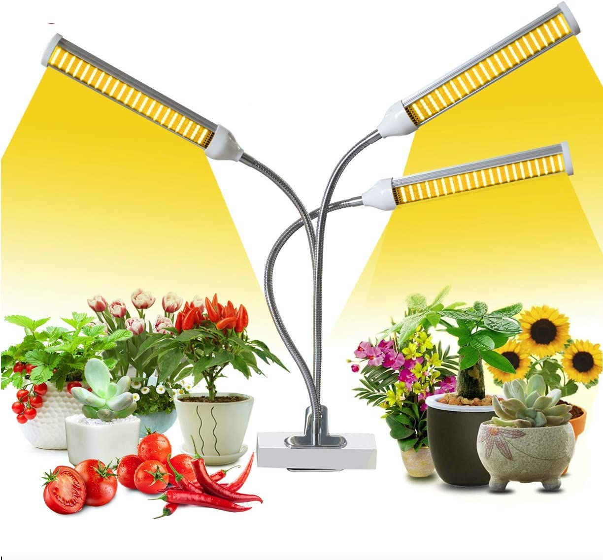 150W Tri Head Sunlike Bright Full Spectrum LED Plant Grow Light for Indoor Plants, Adjustable Bulb Arms, Succulent Plant Growth Lamp Flowering with Dimmer & Auto Timer Function