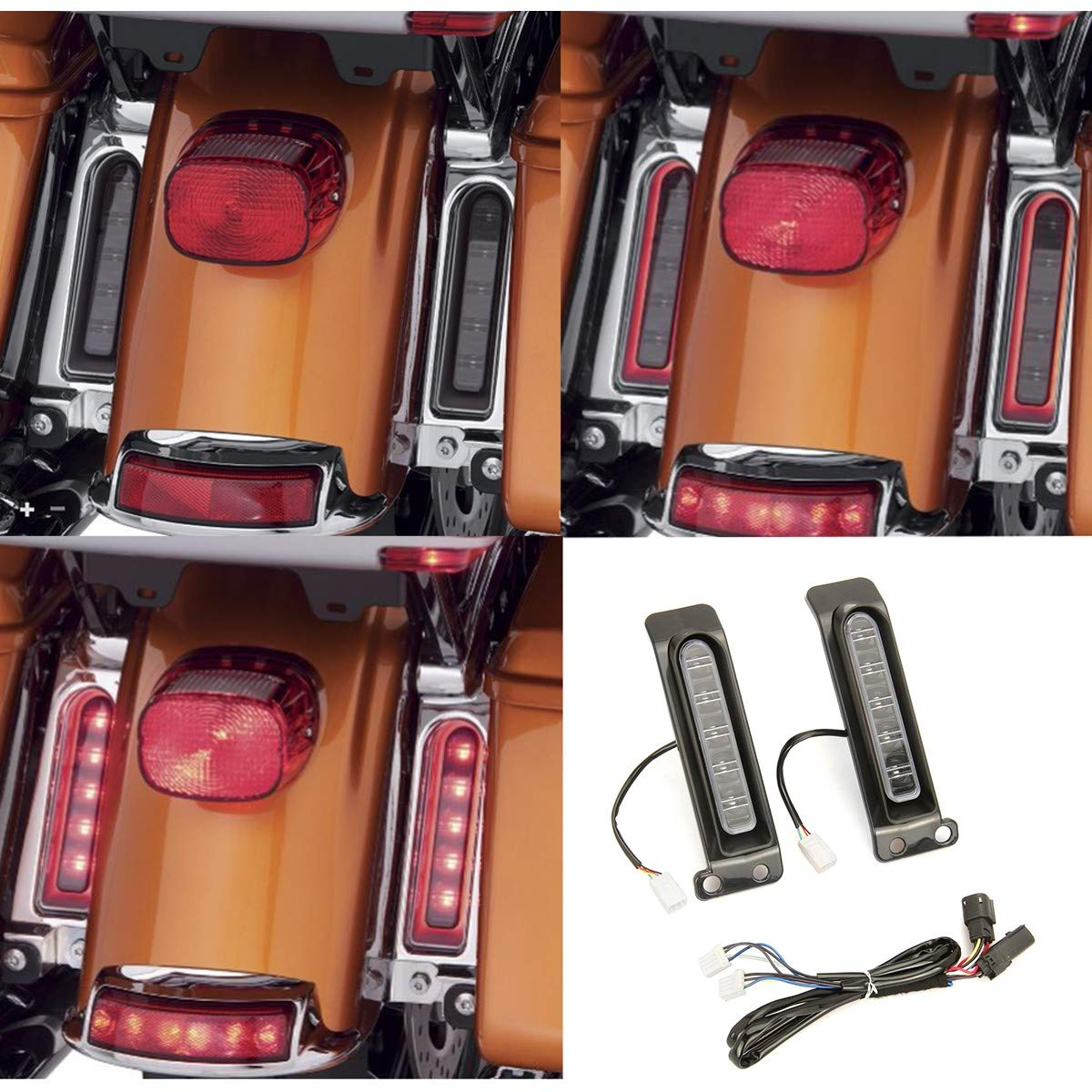Electra Glo Keystone LED ausiliario Run//Brake Turn Lampade per harley FLHTCU parafango posteriore FLHTK Keystone side bag laterale FLTRU 14-18