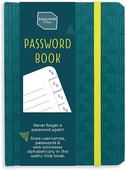 Senza titolo per la sicurezza Boxclever Press Password Book rubrica alfabetica quaderno con etichette A-Z Taccuino per indirizzi web username e password login e note Spazi per info su account