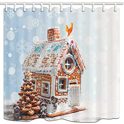 GOOESING Xmas Shower Curtains For Bathroom Christmas Gingerbread Cookies Like Village House In Snowflakes