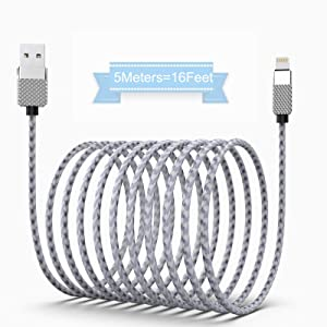 Super Long iPhone Charger Cord 16Ft/5M iPhone Charging Cable Fast Charger Powerline Cable Nylon Braided USB Charging Cable Compatible with iPhone Xs/XR/X / 8/8 Plus / 7/7 Plus / 6 /pad.