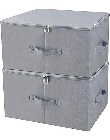 Armario a prueba de polvo Cajas de almacenamiento de ropa con tapa con cremallera, tejido